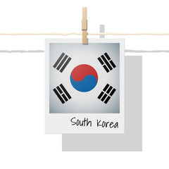 Asian country flag collection with photo of South Korea flag on white background , vector , illustration