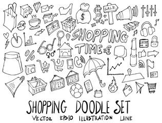 Set of Shopping illustration Hand drawn doodle Sketch line vector eps10