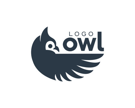 Amazing Owl Bird Modern Simple Logo Eye Catching Dark Blue Animal