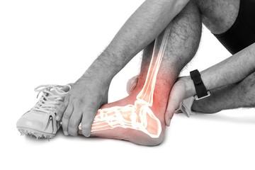 Highlighted leg bones of injured man against white background