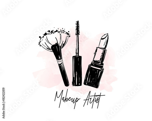 Makeup Artist Logo Banner Business Card And Concept Beauty Set For Make