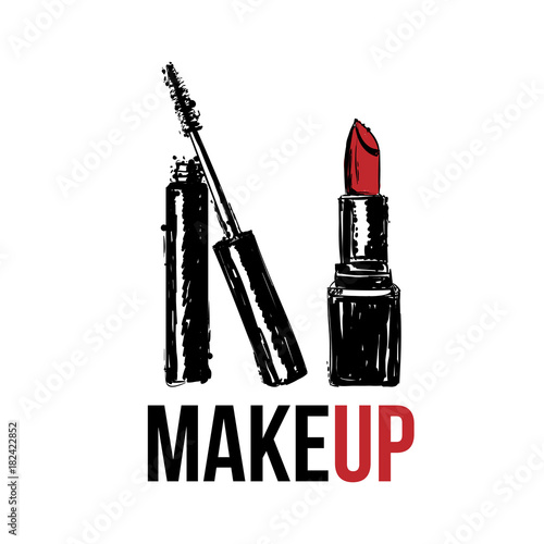 74352cd74ad Makeup Vector illustration of hand drawing makeup cosmetics set. Red  lipstick, mascara tube and