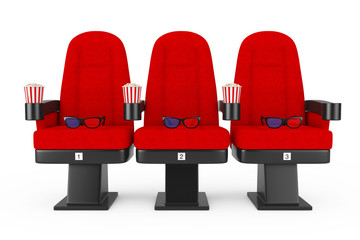 Red Cinema Movie Comfortable Chairs with Popcorn and 3d Glasses. 3d Rendering