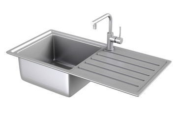 Modern Metalic Kitchen Sink with  Stainless Steel Water Tap, Faucet. 3d Rendering