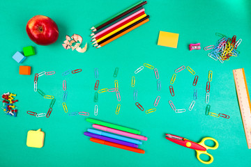 Letters School.  Top View. Flat Lay.School Supplies.