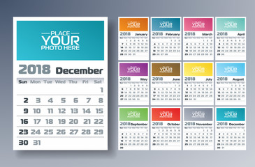 Vector Calendar 2018 Template Illustration with Place for Photo on White Background. Week Starts on Sunday. Set of 12 Months.