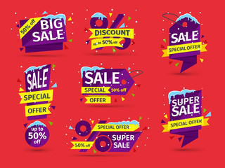 Christmas and New Year's sale. Set of blue colored stickers and banners. Sale tags with snow caps and icicles. Advertising element. Discount and promotion banners. Vector illustration.
