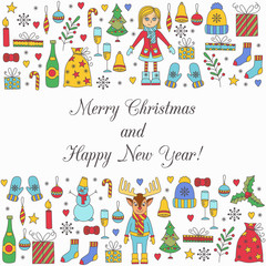 Christmas new year doodle icons and characters vector set