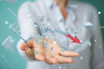 Businesswoman with broken crisis arrow 3D rendering