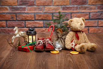 christmas shoes with teddy bear