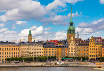 Gothic buildings in Kornhamnstorg square in Stockholm old town Gamla Stan in Sweden