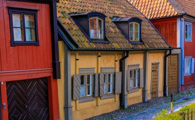 Traditional old scandinavian houses in Sodermalm island of Stockholm Sweden