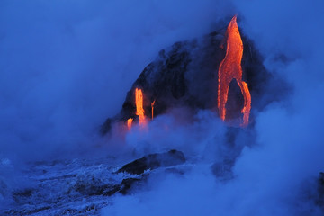 Acrylic Prints Volcano Lava flows from the Kilauea volcano