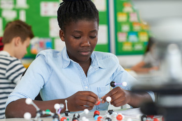 Female Pupil Using Molecular Model Kit In Science Lesson