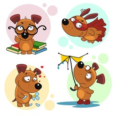 Collection of icons with dogs for design. A dog scientist with, glasses and books, a flying superman dog wearing a mask and a raincoat, a loving dog,  a dog in the rain with a broken umbrella.