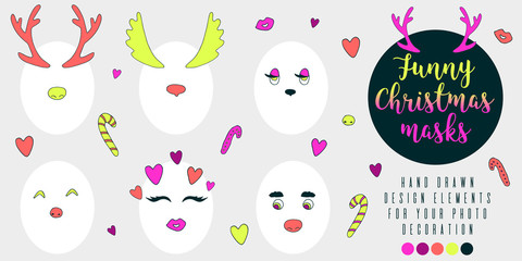 Vector funny Christmas masks set - horns, eyes, noses. Decoration for holidays photos of your friends and colleagues