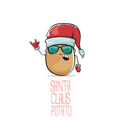 vector funky comic cartoon cute brown smiling santa claus potato with red santa hat isolated on white background. vegetable funky christmas character