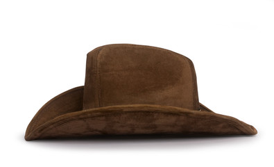 classic brown suede cowboy hat with curved margins