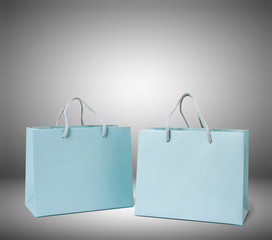 Paper shopping bag on white background. Close Up mock up for design