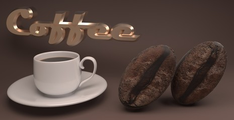 3D render of two grains and a cup of coffee on a brown background