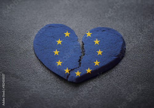 Dissolution Of Europe Symbol Of Broken Heart Stock Photo And