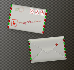 detailed realistic Christmas mail envelopes, holiday mail,