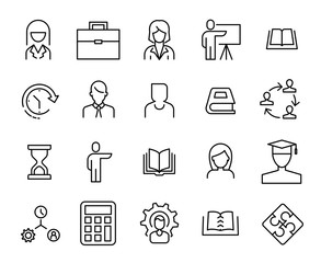 Simple collection of business training related line icons.
