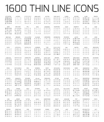 Exclusive 1600 thin line icons set