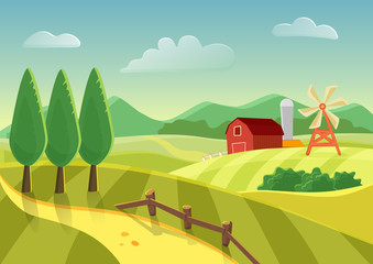 Cartoon vector farm landscape field with farmers building, large field farming striped. Farm flat landscape.