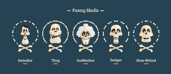 Day of the Dead. Set of skulls. Vector illustration