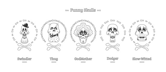 Day of the Dead. Set of skulls in black and white. Vector illustration