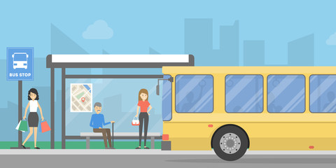 Bus stop with people.