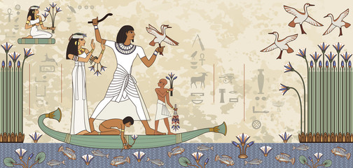 Murals with ancient egypt scene.Ancient egypt banner.