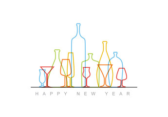 Colorful Outlined Cocktail Glasses New Year Flyer