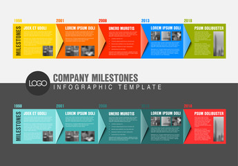 Large Colorful Overlapping Arrows Timeline Infographic Layout
