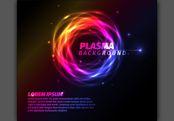Glowing Plasma Effect Text and Background Layout