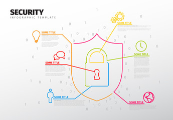 Infographic Layout with Security Shield and Lock Element