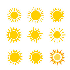 sun flat vector icon set on white background