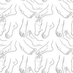 seamless pattern foot men in different positions.  illustration