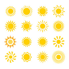 yellow flat sun icons set isolated on white background. Vector illustration
