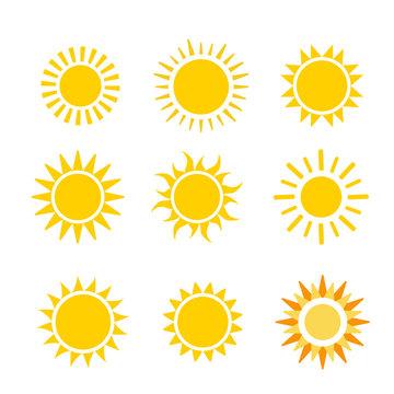 sun flat vector icon set on white background