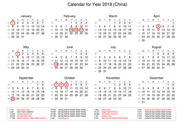 Calendar of year 2018 with public holidays and bank holidays for China