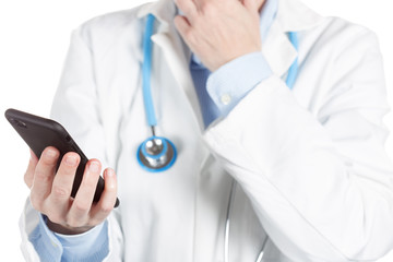 female doctor using a cellphone isolated on white