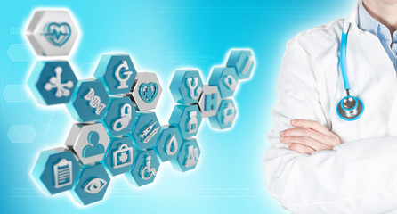 doctor and medical icons in blue background