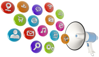 colorful web icons spilling out of a megaphone