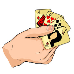 playing cards in the hands . illustration