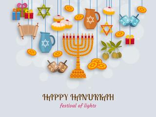 Hanukkah greeting card with Torah, menorah and dreidels. Place for your Text. Vector illustration.