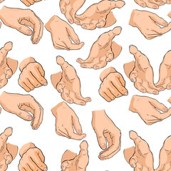 seamless pattern of men's hands different positions. vector illustration