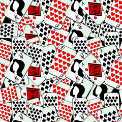 seamless pattern playing cards suit lady ace  vector illustration