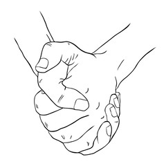 Coloring men's two hands crossed fingers  illustration